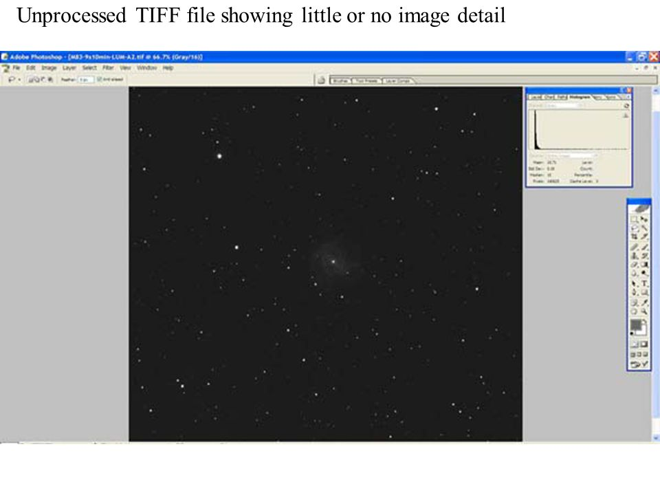 Unprocessed TIFF file showing little or no image detail