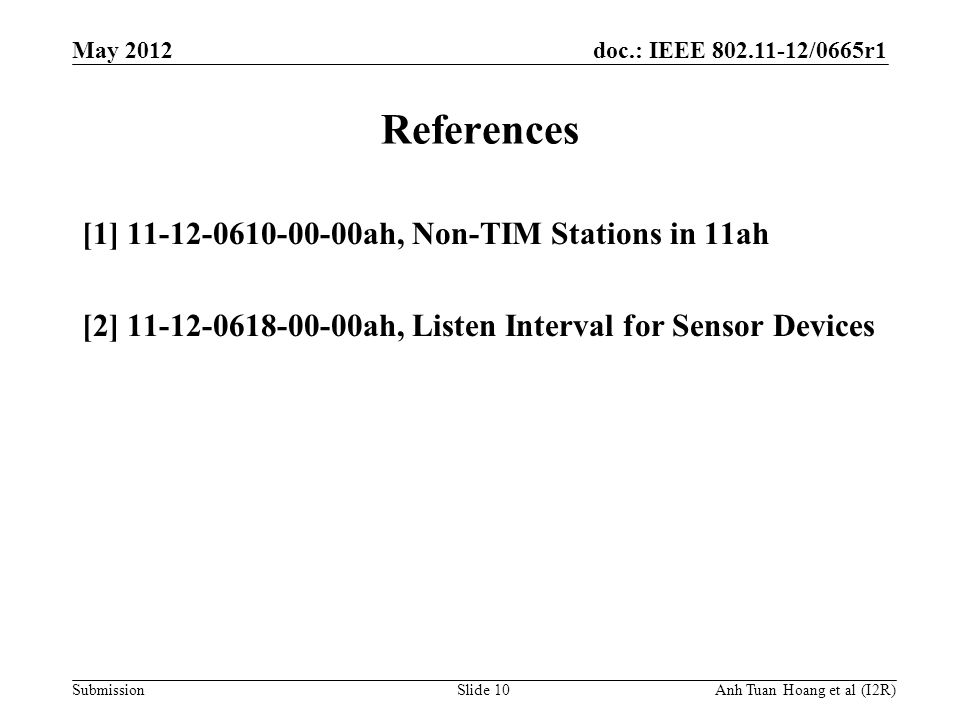 doc.: IEEE 802.11-12/0665r1 Submission May 2012 Anh Tuan Hoang et al (I2R) References [1] 11-12-0610-00-00ah, Non-TIM Stations in 11ah [2] 11-12-0618-
