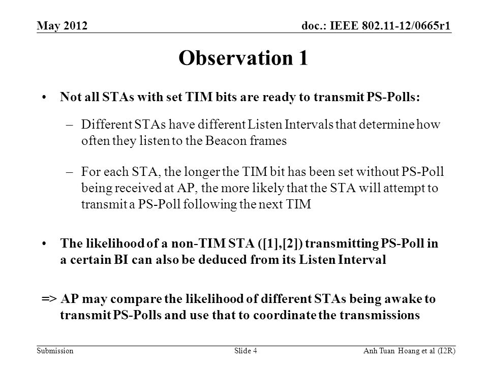 doc.: IEEE 802.11-12/0665r1 Submission May 2012 Anh Tuan Hoang et al (I2R) Observation 1 Not all STAs with set TIM bits are ready to transmit PS-Polls