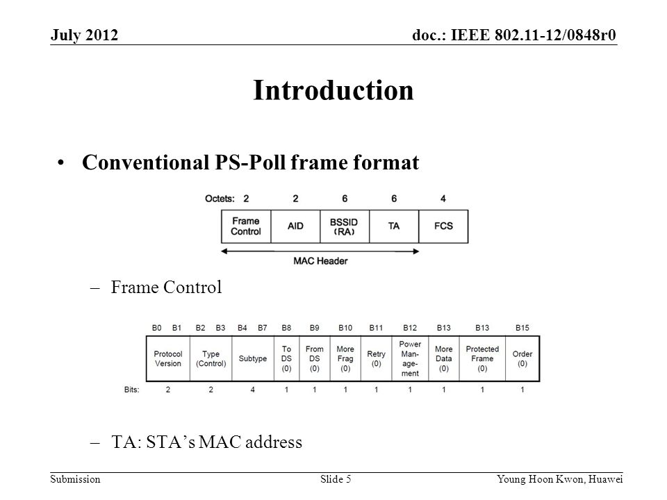 doc.: IEEE 802.11-12/0848r0 Submission Frame Control None of FC fields are required except Packet type indication.