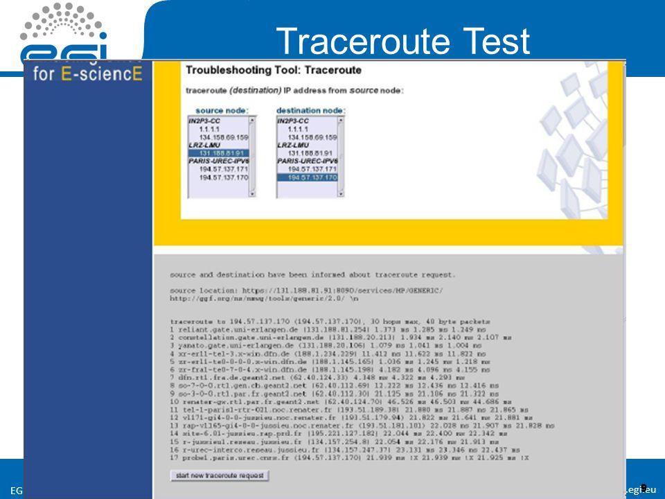 www.egi.eu EGI-InSPIRE RI-261323 9 9 Traceroute Test
