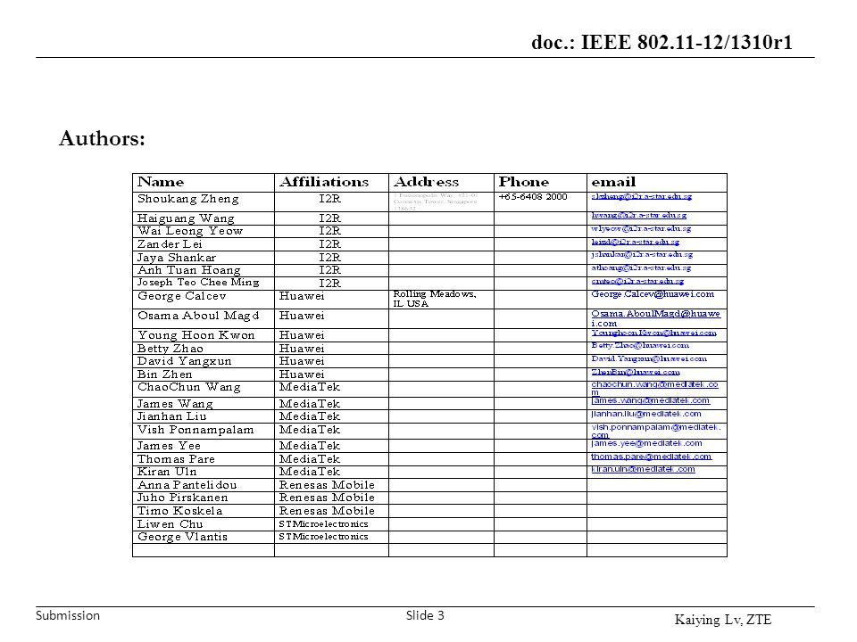 Submission doc.: IEEE 802.11-12/1310r1 Slide 3 Authors: Kaiying Lv, ZTE