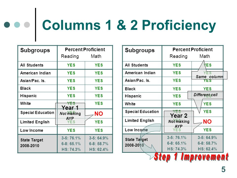 For the Participation columns in Reading and Math there is but one way to make AYP: 95% of the students in each subgroup must have taken the tests.