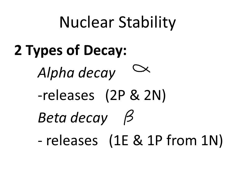 Nuclear Stability 2 Types of Decay: Alpha decay -releases (2P & 2N) Beta decay - releases (1E & 1P from 1N)