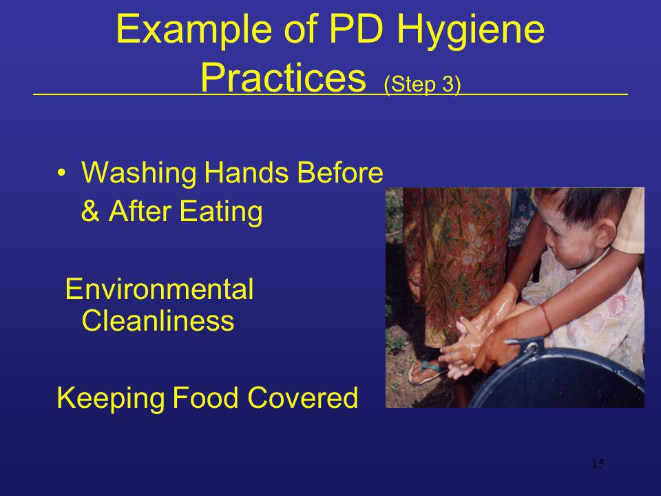 15 Example of PD Hygiene Practices (Step 3) Washing Hands Before & After Eating Environmental Cleanliness Keeping Food Covered