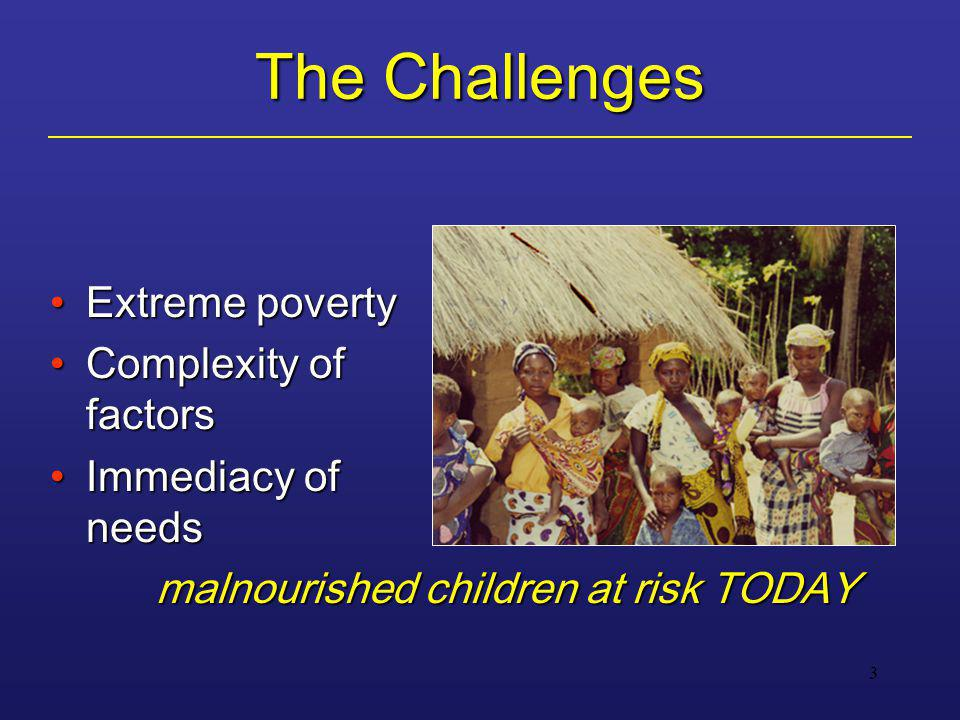 3 The Challenges Extreme povertyExtreme poverty Complexity of factorsComplexity of factors Immediacy of needsImmediacy of needs malnourished children