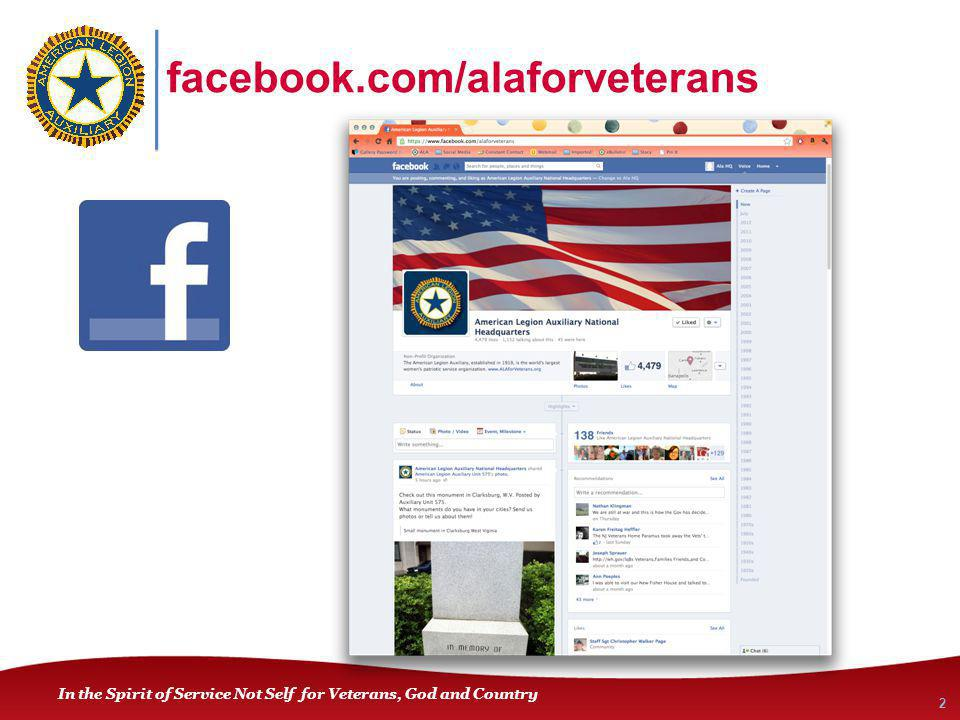 In the Spirit of Service Not Self for Veterans, God and Country facebook.com/alaforveterans 2