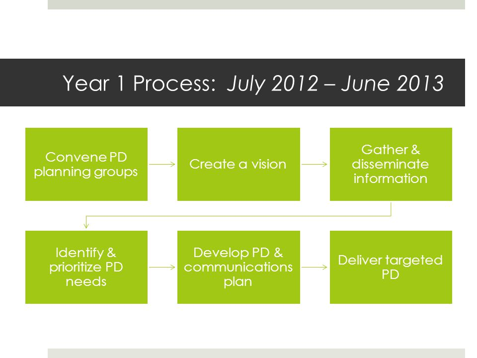 Year 1 Process: July 2012 – June 2013 Convene PD planning groups Create a vision Gather & disseminate information Identify & prioritize PD needs Develop PD & communications plan Deliver targeted PD