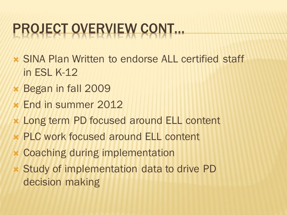  SINA Plan Written to endorse ALL certified staff in ESL K-12  Began in fall 2009  End in summer 2012  Long term PD focused around ELL content  P