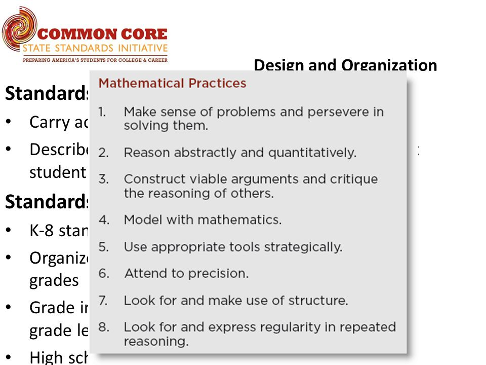 Design and Organization Standards for Mathematical Practice Carry across all grade levels Describe habits of mind of a mathematically expert student Standards for Mathematical Content K-8 standards presented by grade level Organized into domains that progress over several grades Grade introductions give 2–4 focal points at each grade level High school standards presented by conceptual theme (Number & Quantity, Algebra, Functions, Modeling, Geometry, Statistics & Probability)