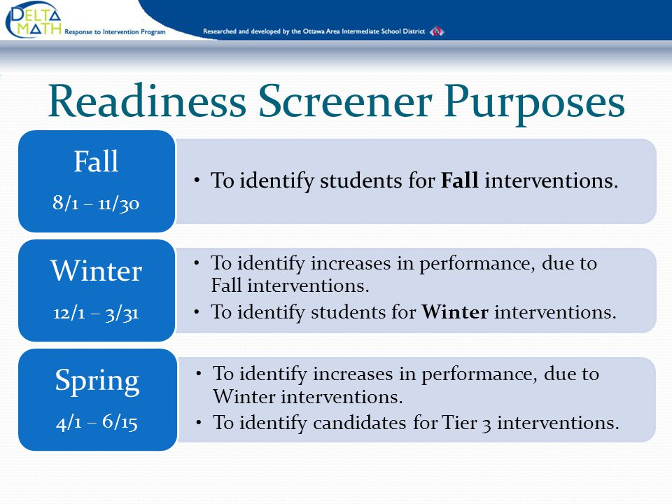 Readiness Screener Purposes To identify students for Fall interventions. Fall 8/1 – 11/30 To identify increases in performance, due to Fall interventi