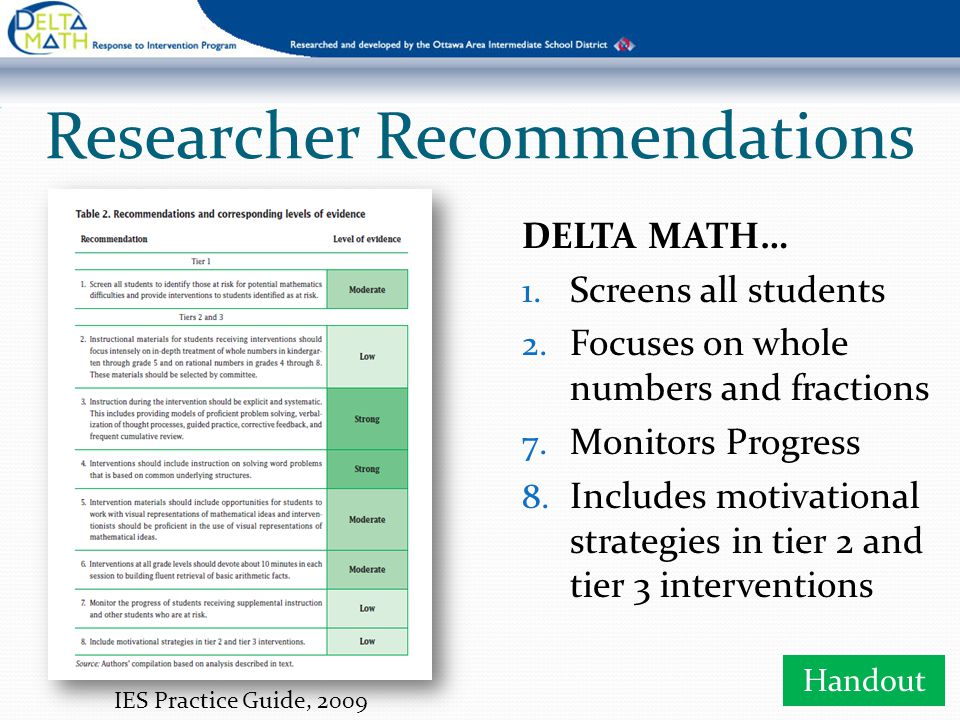 DELTA MATH Mission We provide educators with tools and protocols that identify targeted learning gaps and respond to individual student needs.