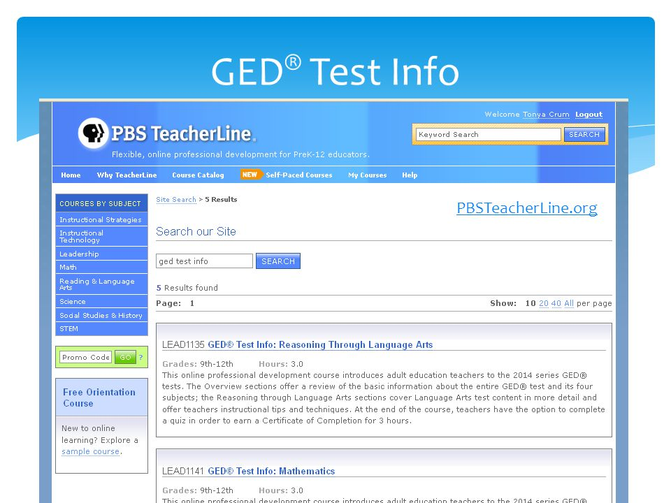 GED ® Test Info PBSTeacherLine.org