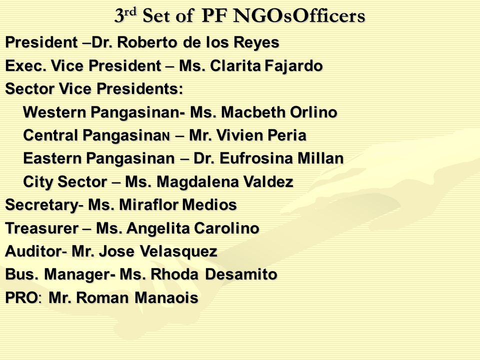 3 rd Set of PF NGOsOfficers President –Dr. Roberto de los Reyes Exec.