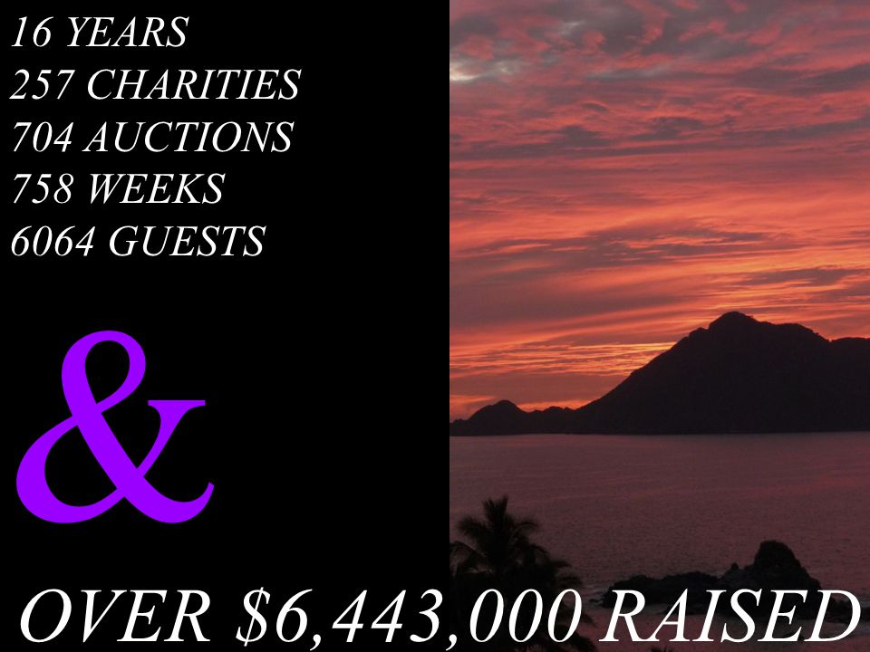 16 YEARS 257 CHARITIES 704 AUCTIONS 758 WEEKS 6064 GUESTS & OVER $6,443,000 RAISED