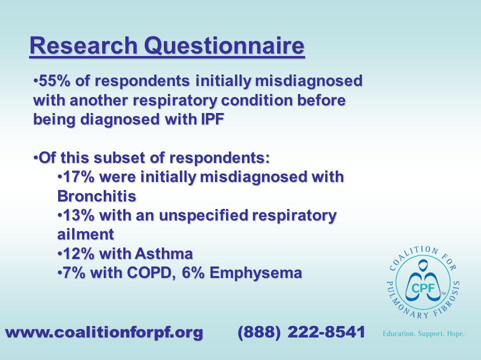 Research Questionnaire www.coalitionforpf.org www.coalitionforpf.org (888) 222-8541 55% of respondents initially misdiagnosed with another respiratory