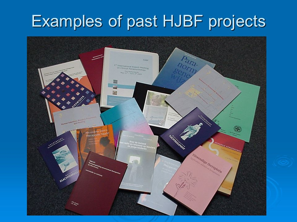 Examples of past HJBF projects