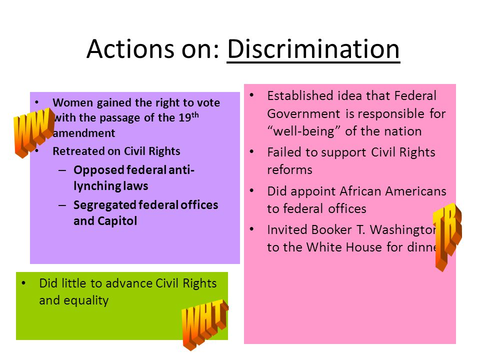 Actions on: Discrimination Women gained the right to vote with the passage of the 19 th amendment Retreated on Civil Rights – Opposed federal anti- lynching laws – Segregated federal offices and Capitol Did little to advance Civil Rights and equality Established idea that Federal Government is responsible for well-being of the nation Failed to support Civil Rights reforms Did appoint African Americans to federal offices Invited Booker T.