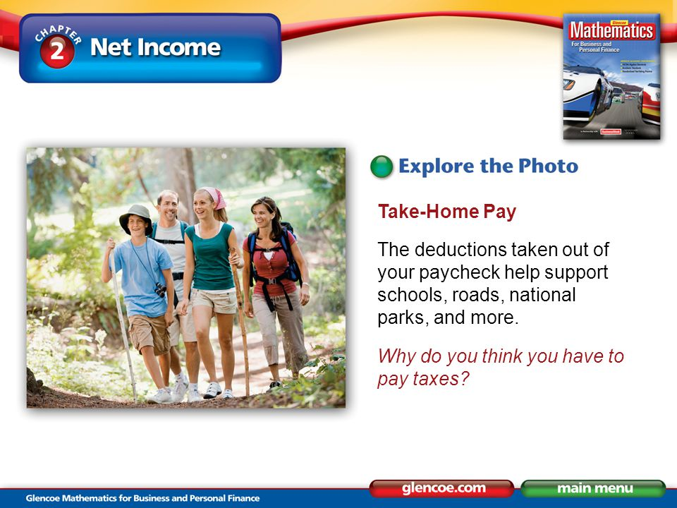 Take-Home Pay The deductions taken out of your paycheck help support schools, roads, national parks, and more.