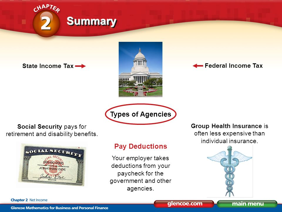 SummarySummary Types of Agencies Pay Deductions Your employer takes deductions from your paycheck for the government and other agencies.