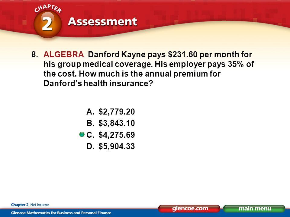 8.ALGEBRA Danford Kayne pays $231.60 per month for his group medical coverage.