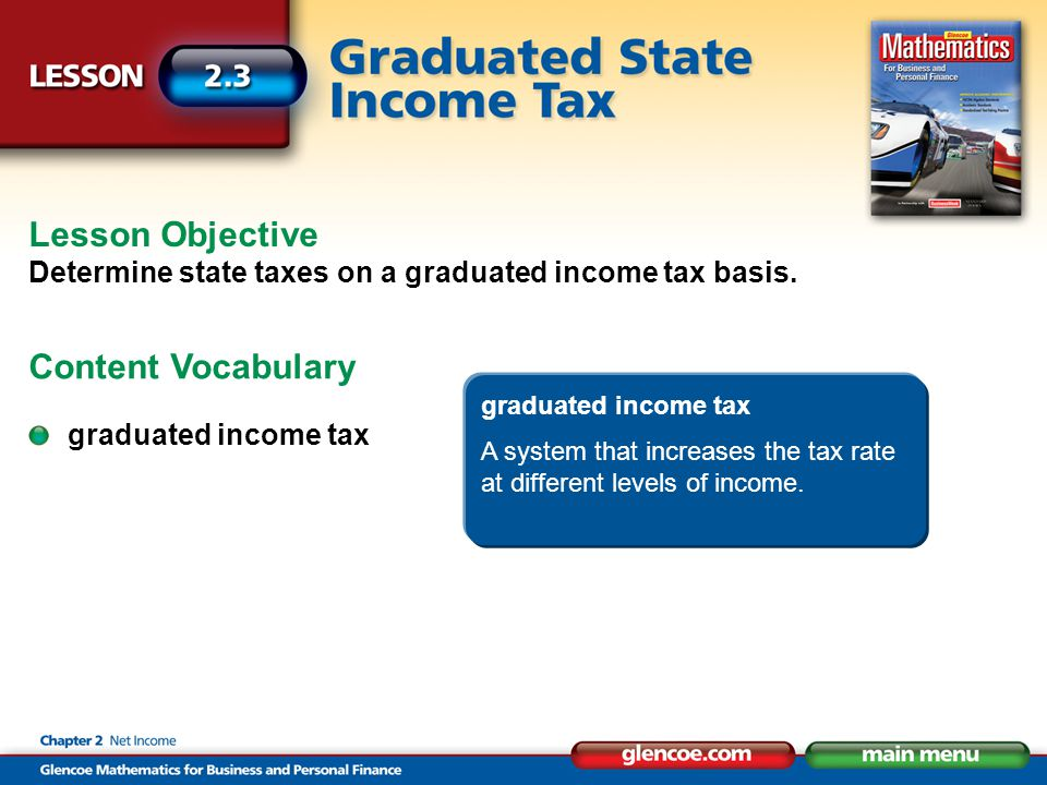 Lesson Objective Determine state taxes on a graduated income tax basis.
