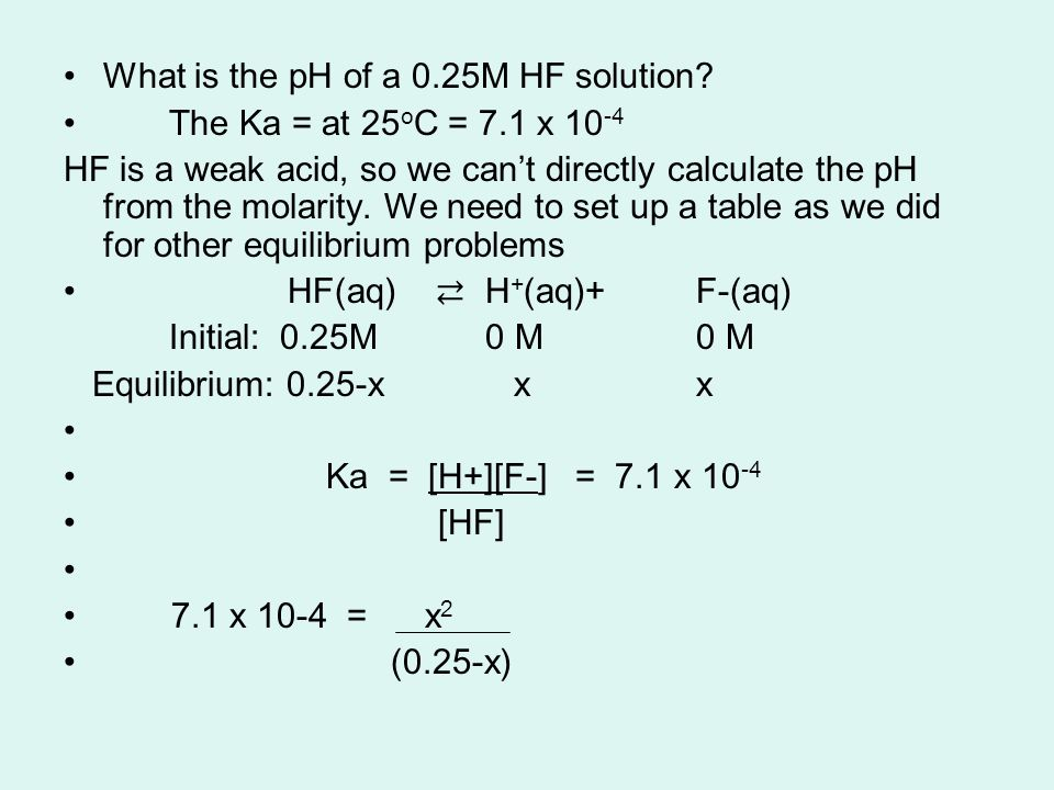 What is the pH of a 0.25M HF solution.