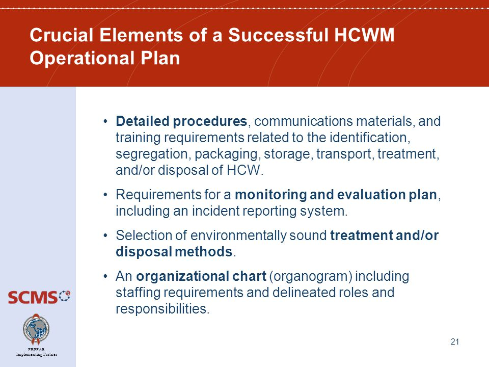 PEPFAR Implementing Partner Crucial Elements of a Successful HCWM Operational Plan Detailed procedures, communications materials, and training requirements related to the identification, segregation, packaging, storage, transport, treatment, and/or disposal of HCW.