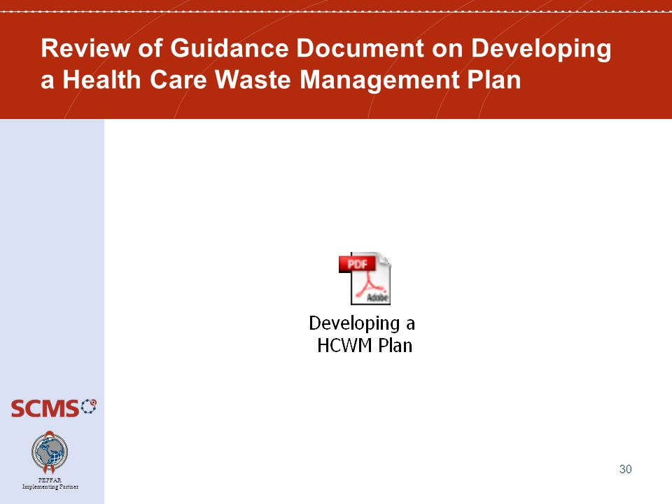 PEPFAR Implementing Partner Review of Guidance Document on Developing a Health Care Waste Management Plan 30
