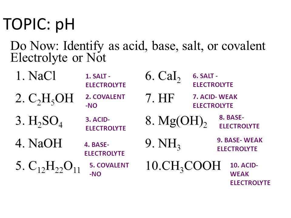TOPIC: pH 1. NaCl 2. C 2 H 5 OH 3. H 2 SO 4 4. NaOH 5.