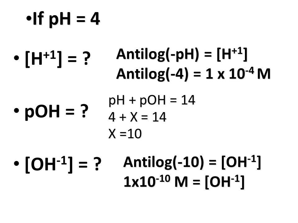 If pH = 4 If pH = 4 [H +1 ] = . pOH = . [OH -1 ] = .