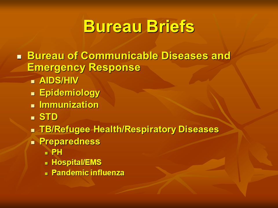 Bureau Briefs Bureau of Communicable Diseases and Emergency Response Bureau of Communicable Diseases and Emergency Response AIDS/HIV AIDS/HIV Epidemiology Epidemiology Immunization Immunization STD STD TB/Refugee Health/Respiratory Diseases TB/Refugee Health/Respiratory Diseases Preparedness Preparedness PH PH Hospital/EMS Hospital/EMS Pandemic influenza Pandemic influenza
