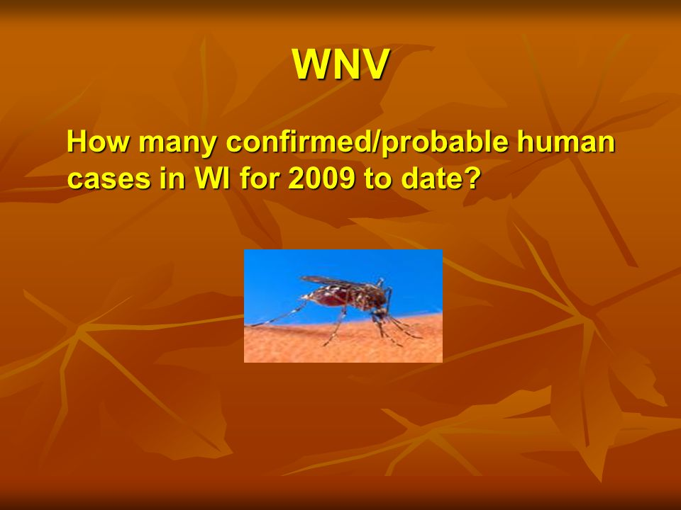 WNV How many confirmed/probable human cases in WI for 2009 to date.