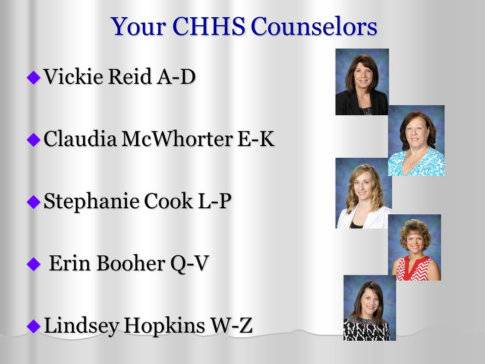 Your CHHS Counselors  Vickie Reid A-D  Claudia McWhorter E-K  Stephanie Cook L-P  Erin Booher Q-V  Lindsey Hopkins W-Z