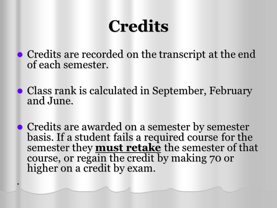 Credits Credits are recorded on the transcript at the end of each semester. Credits are recorded on the transcript at the end of each semester. Class