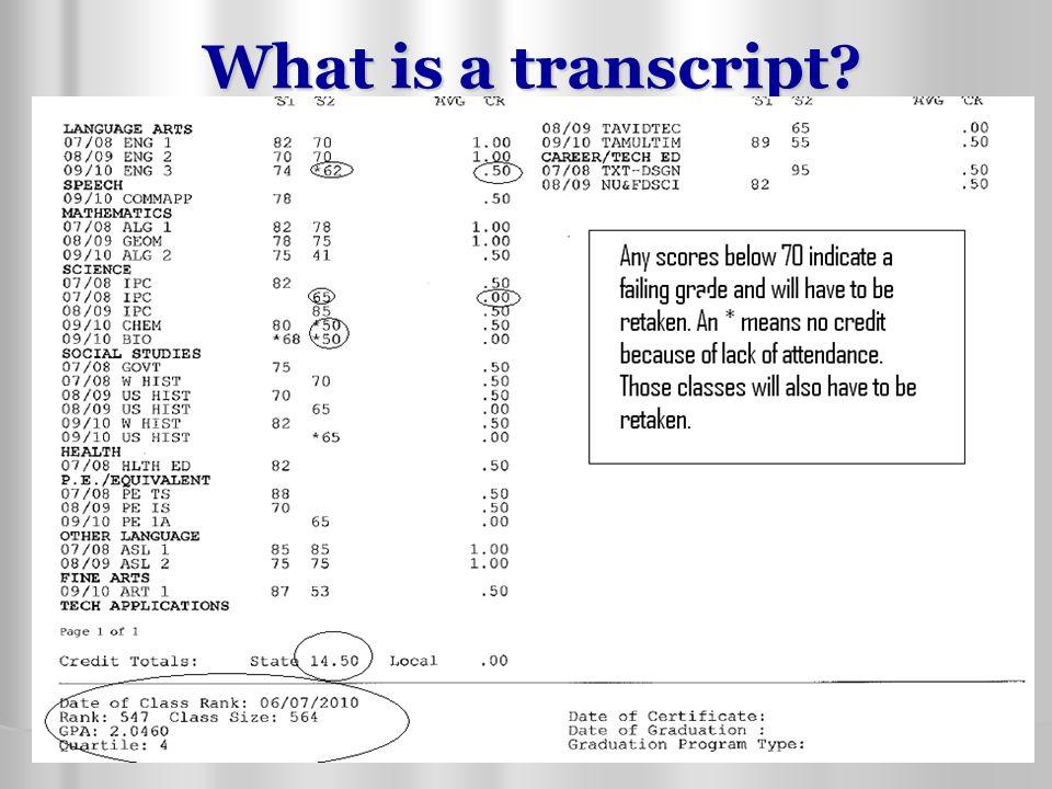 What is a transcript?