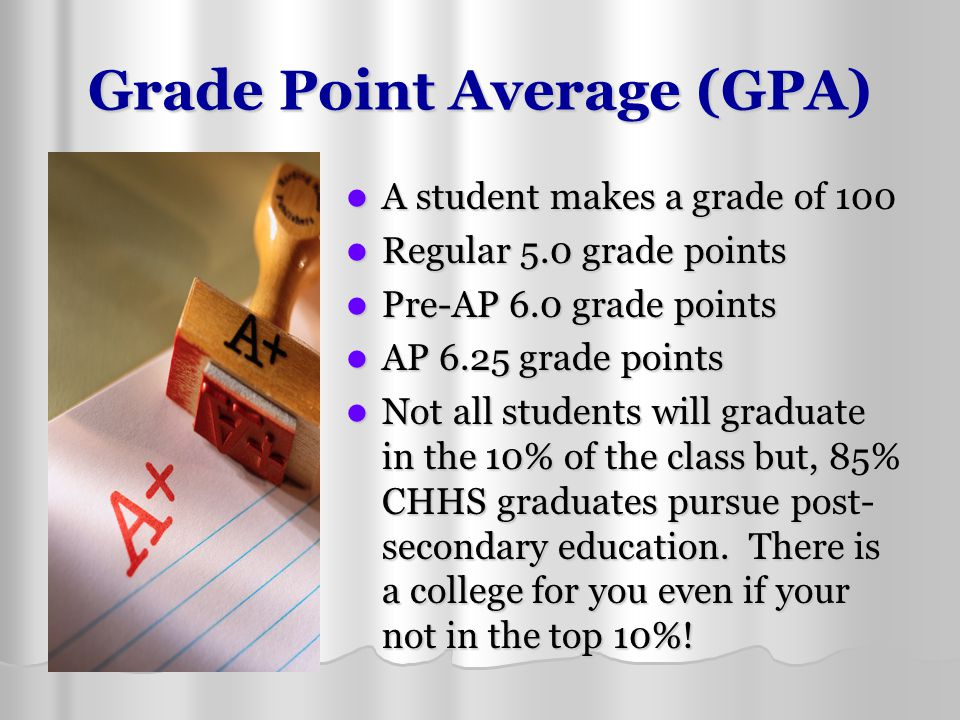 Grade Point Average (GPA) A student makes a grade of 100 A student makes a grade of 100 Regular 5.0 grade points Regular 5.0 grade points Pre-AP 6.0 g