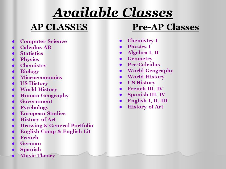 Available Classes AP CLASSES Computer Science Calculus AB Statistics Physics Chemistry Biology Microeconomics US History World History Human Geography