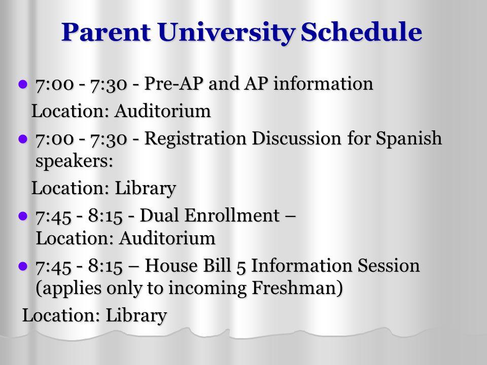 Parent University Schedule 7:00 - 7:30 - Pre-AP and AP information 7:00 - 7:30 - Pre-AP and AP information Location: Auditorium Location: Auditorium 7