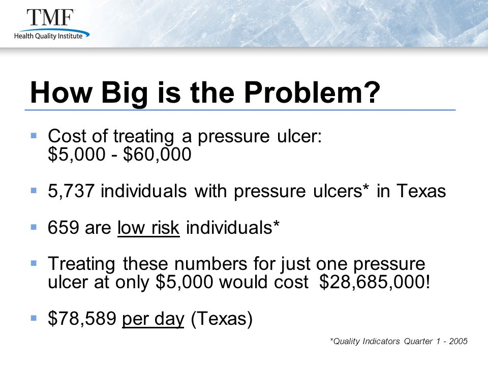 How Big is the Problem?  Cost of treating a pressure ulcer: $5,000 - $60,000  5,737 individuals with pressure ulcers* in Texas  659 are low risk in