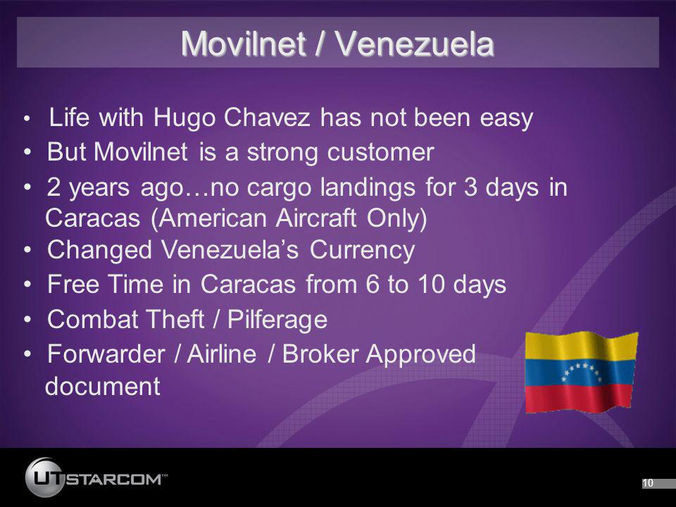 10 Movilnet / Venezuela Life with Hugo Chavez has not been easy But Movilnet is a strong customer 2 years ago…no cargo landings for 3 days in Caracas