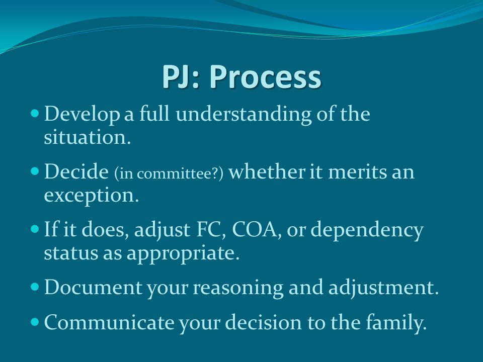 PJ: Process Develop a full understanding of the situation.