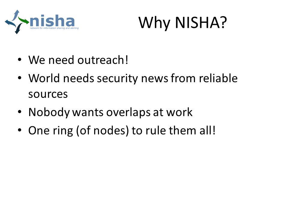 Why NISHA. We need outreach.