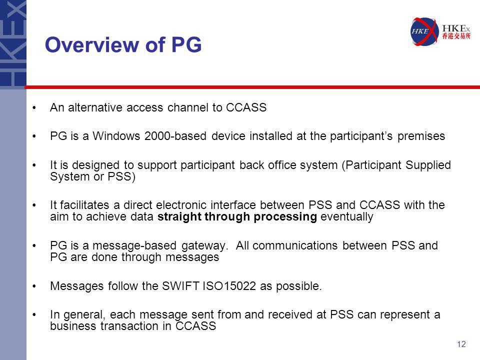 12 An alternative access channel to CCASS PG is a Windows 2000-based device installed at the participant's premises It is designed to support particip
