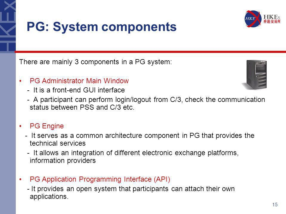 15 There are mainly 3 components in a PG system: PG Administrator Main Window - It is a front-end GUI interface - A participant can perform login/logo