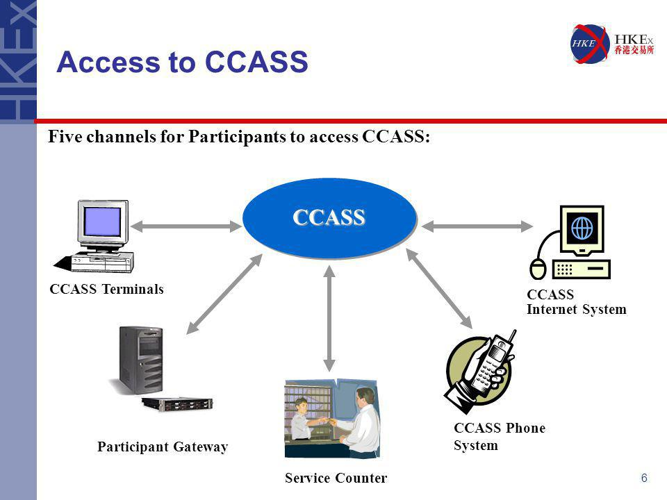 7 Access to CCASS - C3T & PG In the CCASS Architecture Upgrade Project, two Communication Channels were developed as part of technology upgrade: CCASS/3 Terminal (C3T) Access to CCASS through a browser-based terminal C3T Functions: Enquire portfolios, movements and transactions; input data, upload files and download reports Participant Gateway (PG) A technical device installed at the Participants' premises to provide an access point through which Participants' back office systems can communicate with CCASS on a message basis Adoption of PG is optional to CCASS participants Both C3T Functions and PG Messages were processed by the mainframe in a similar fashion