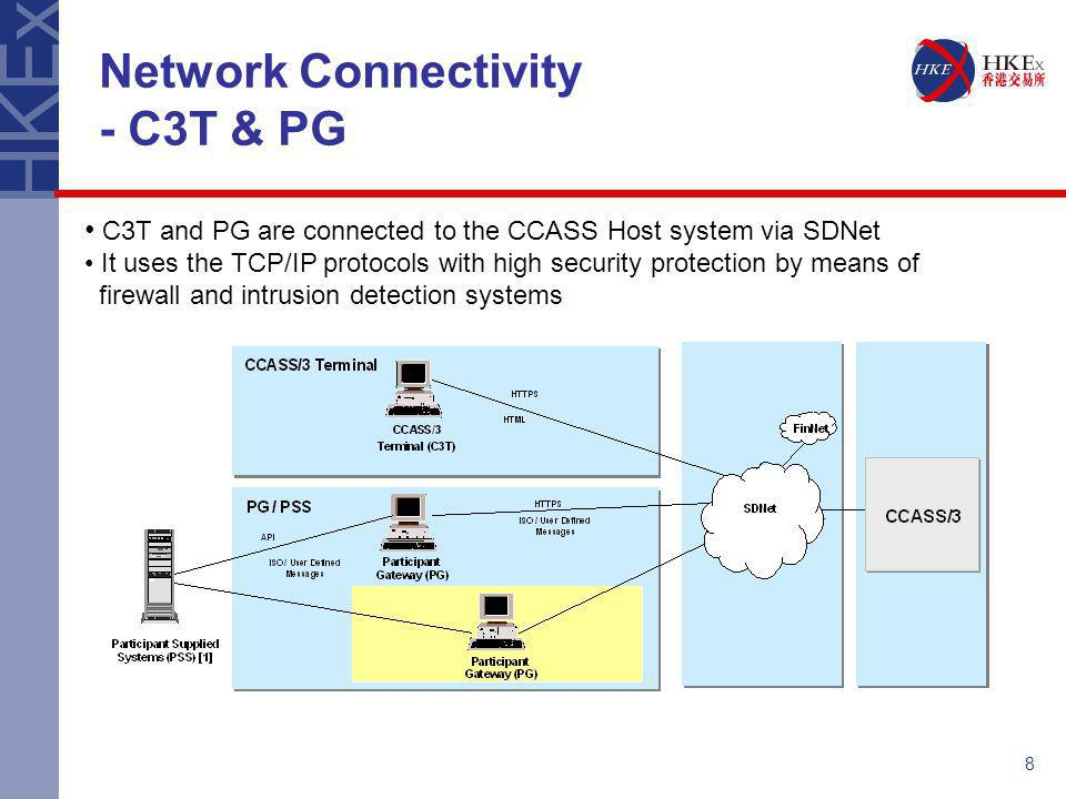 8 Network Connectivity - C3T & PG C3T and PG are connected to the CCASS Host system via SDNet It uses the TCP/IP protocols with high security protecti