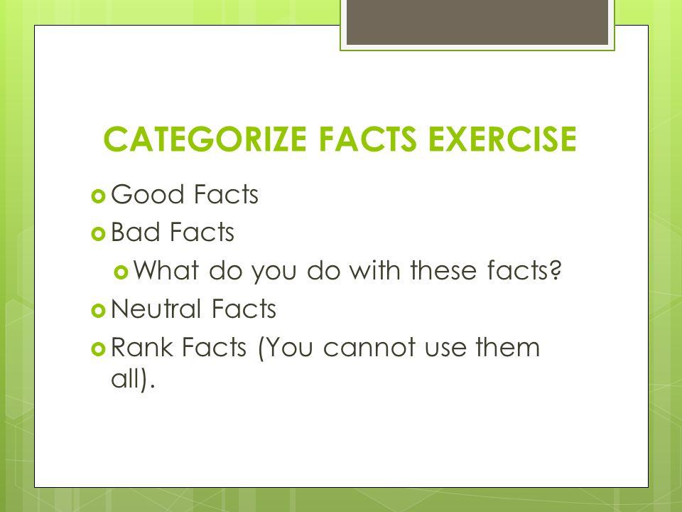 FACTS BRAINSTORM EXERCISE- List the facts FactsCategorizeRank 1.