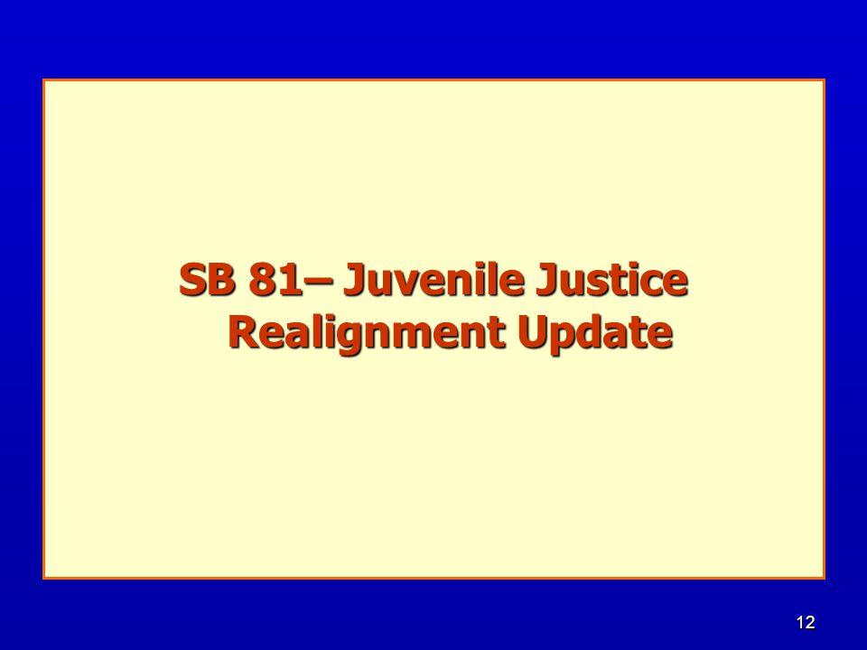 12 SB 81– Juvenile Justice Realignment Update
