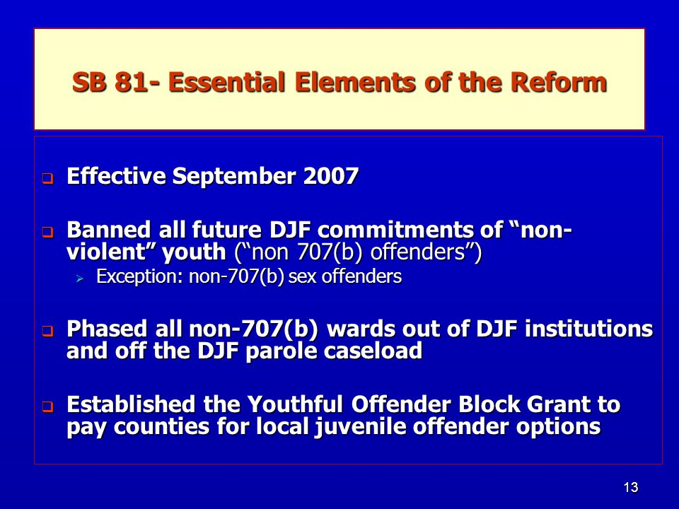 """13 SB 81- Essential Elements of the Reform  Effective September 2007  Banned all future DJF commitments of """"non- violent"""" youth (""""non 707(b) offende"""